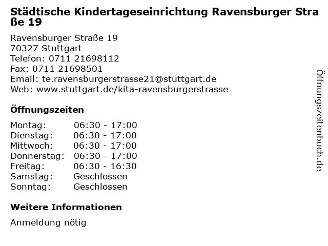 Städtische Kindertageseinrichtung Ravensburger Straße 19 in Stuttgart: Adresse und Öffnungszeiten