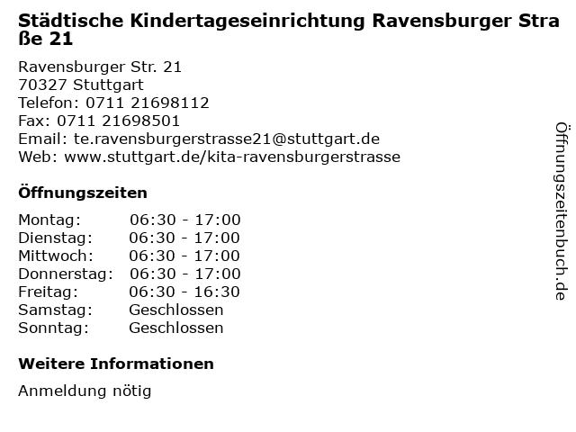 Städtische Kindertageseinrichtung Ravensburger Straße 21 in Stuttgart: Adresse und Öffnungszeiten