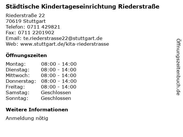 Städtische Kindertageseinrichtung Riederstraße in Stuttgart: Adresse und Öffnungszeiten