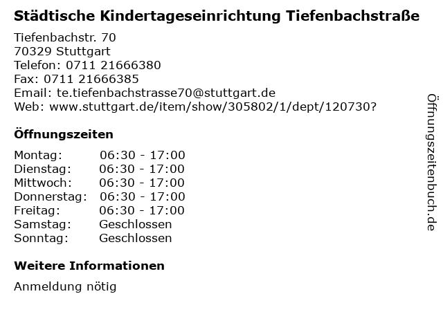 Städtische Kindertageseinrichtung Tiefenbachstraße in Stuttgart: Adresse und Öffnungszeiten