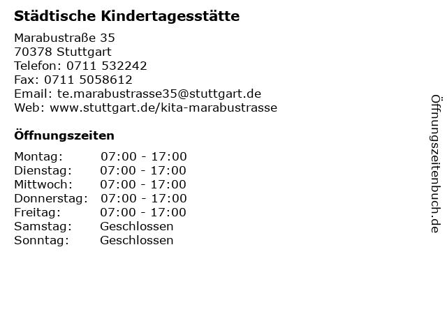 Städtische Kindertagesstätte Marabustraße in Stuttgart: Adresse und Öffnungszeiten
