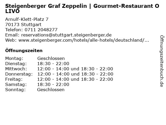 Steigenberger Graf Zeppelin | Gourmet-Restaurant OLIVO in Stuttgart: Adresse und Öffnungszeiten