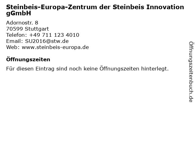 Steinbeis-Europa-Zentrum der Steinbeis Innovation gGmbH in Stuttgart: Adresse und Öffnungszeiten