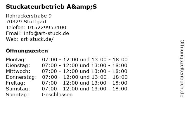 Stuckateurbetrieb A&S in Stuttgart: Adresse und Öffnungszeiten