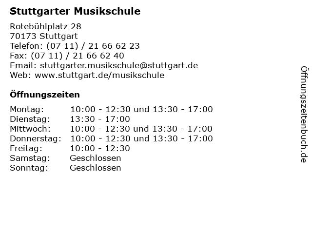 Stuttgarter Musikschule in Stuttgart: Adresse und Öffnungszeiten