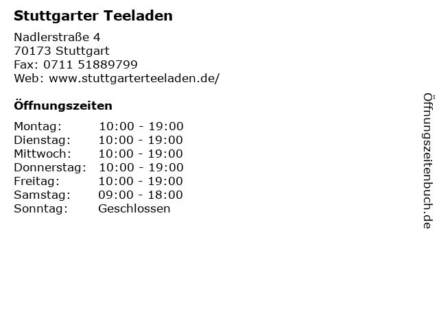 Stuttgarter Teeladen in Stuttgart: Adresse und Öffnungszeiten