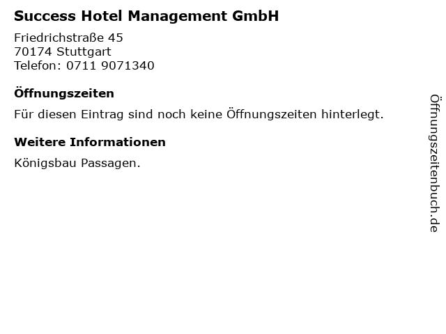 Success Hotel Management GmbH in Stuttgart: Adresse und Öffnungszeiten