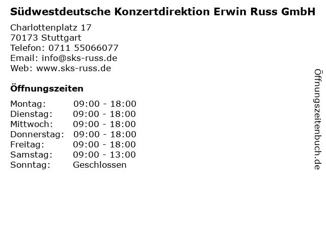 Südwestdeutsche Konzertdirektion Erwin Russ GmbH in Stuttgart: Adresse und Öffnungszeiten