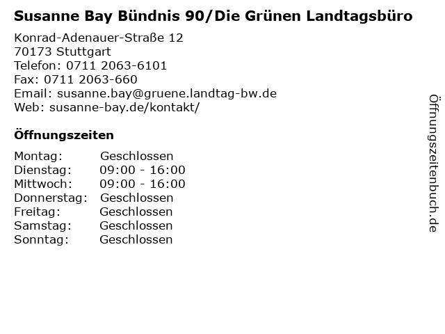 Susanne Bay Bündnis 90/Die Grünen Landtagsbüro in Stuttgart: Adresse und Öffnungszeiten