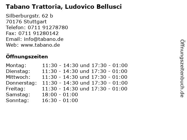 Tabano Trattoria, Ludovico Bellusci in Stuttgart: Adresse und Öffnungszeiten