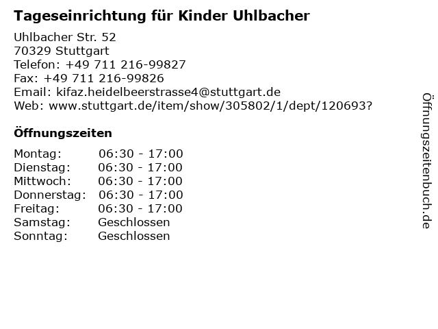 Tageseinrichtung für Kinder Uhlbacher in Stuttgart: Adresse und Öffnungszeiten
