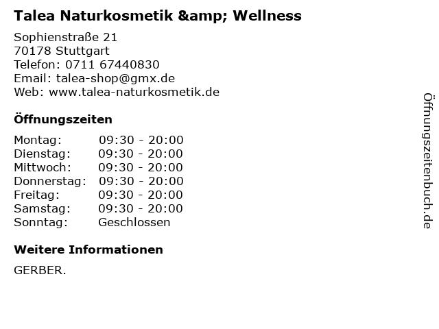 Talea Naturkosmetik & Wellness in Stuttgart: Adresse und Öffnungszeiten