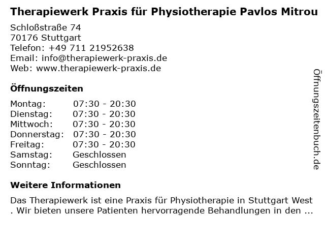 Praxis für Physiotherapie Pavlos Mitrou in Stuttgart: Adresse und Öffnungszeiten