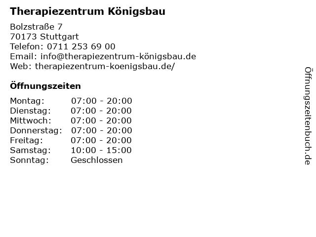 Therapiezentrum Königsbau in Stuttgart: Adresse und Öffnungszeiten
