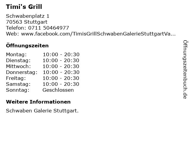 Timi's Grill in Stuttgart: Adresse und Öffnungszeiten
