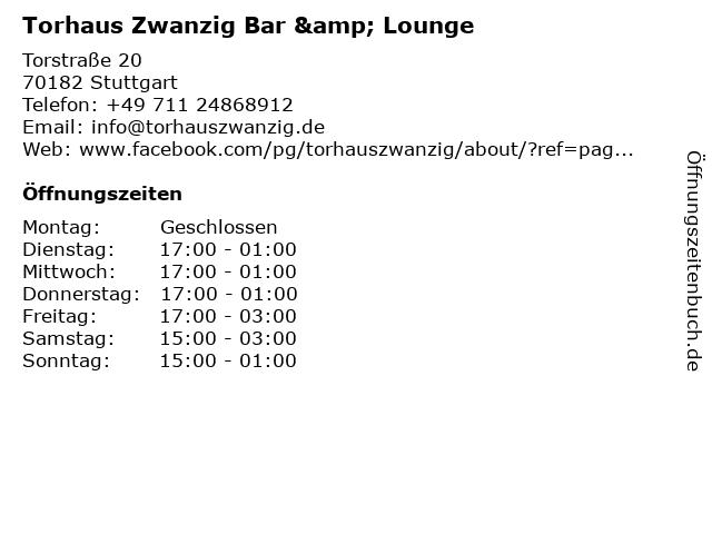 Torhaus Zwanzig Bar & Lounge in Stuttgart: Adresse und Öffnungszeiten