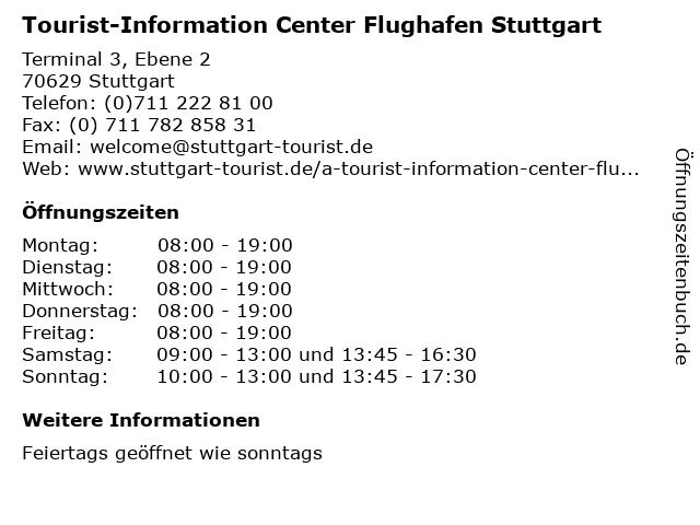 Tourist-Information Center Flughafen Stuttgart in Stuttgart: Adresse und Öffnungszeiten