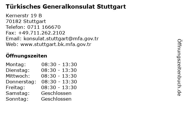 Türkisches Generalkonsulat Stuttgart in Stuttgart: Adresse und Öffnungszeiten