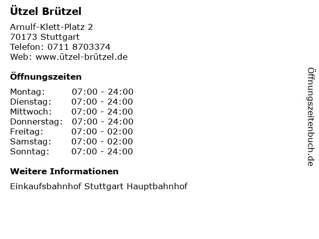 Ützel Brützel in Stuttgart: Adresse und Öffnungszeiten