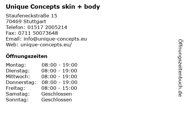Unique Concepts skin + body in Stuttgart: Adresse und Öffnungszeiten