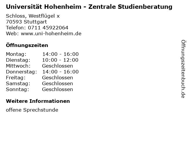 Universität Hohenheim - Zentrale Studienberatung in Stuttgart: Adresse und Öffnungszeiten