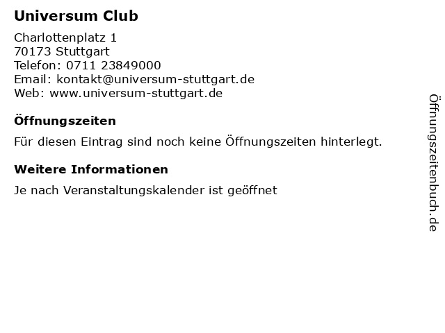 Universum Club in Stuttgart: Adresse und Öffnungszeiten