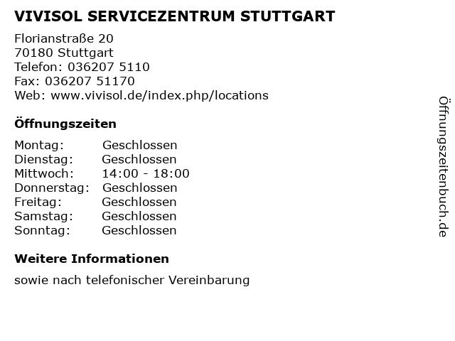 VIVISOL SERVICEZENTRUM STUTTGART in Stuttgart: Adresse und Öffnungszeiten