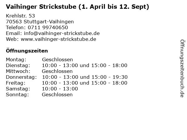 Vaihinger Strickstube (1. April bis 12. Sept) in Stuttgart-Vaihingen: Adresse und Öffnungszeiten