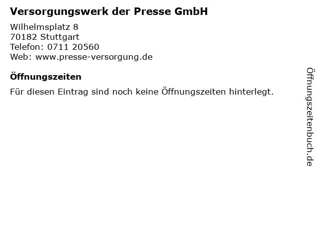 Versorgungswerk der Presse GmbH in Stuttgart: Adresse und Öffnungszeiten