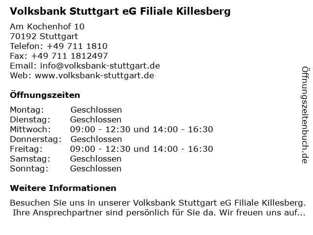 Volksbank Stuttgart eG Filiale Killesberg in Stuttgart: Adresse und Öffnungszeiten