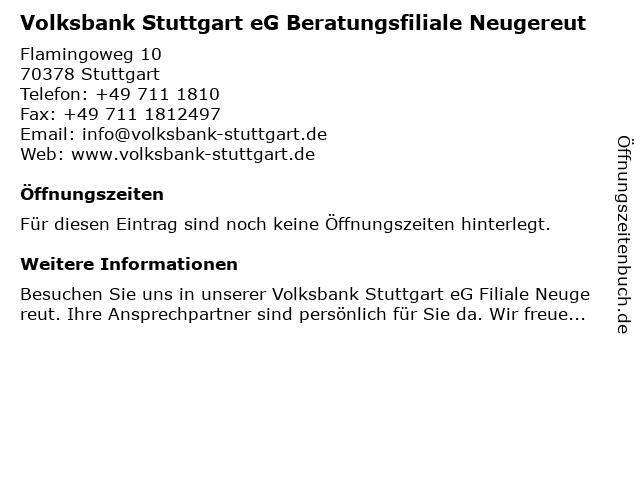 Volksbank Stuttgart eG Filiale Neugereut in Stuttgart: Adresse und Öffnungszeiten