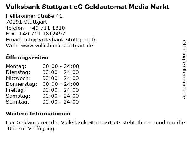 Volksbank Stuttgart eG Geldautomat Media Markt in Stuttgart: Adresse und Öffnungszeiten