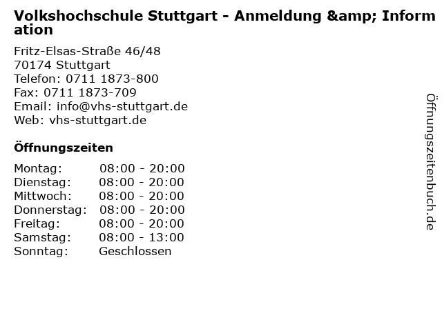 Volkshochschule Stuttgart - Anmeldung & Information in Stuttgart: Adresse und Öffnungszeiten