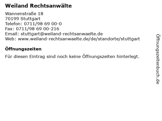 Weiland Rechtsanwälte in Stuttgart: Adresse und Öffnungszeiten