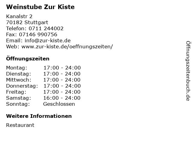 Weinstube Zur Kiste in Stuttgart: Adresse und Öffnungszeiten