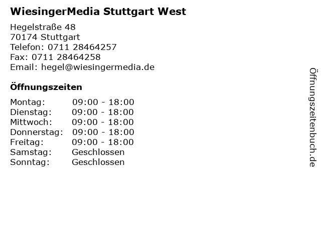 WiesingerMedia Stuttgart West in Stuttgart: Adresse und Öffnungszeiten