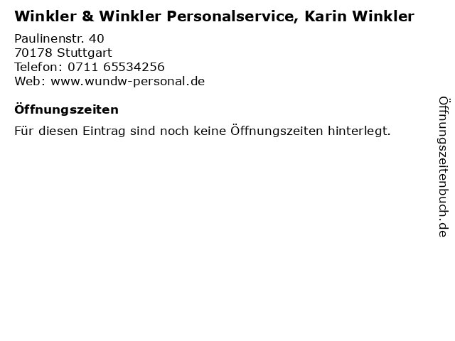 Winkler & Winkler Personalservice, Karin Winkler in Stuttgart: Adresse und Öffnungszeiten