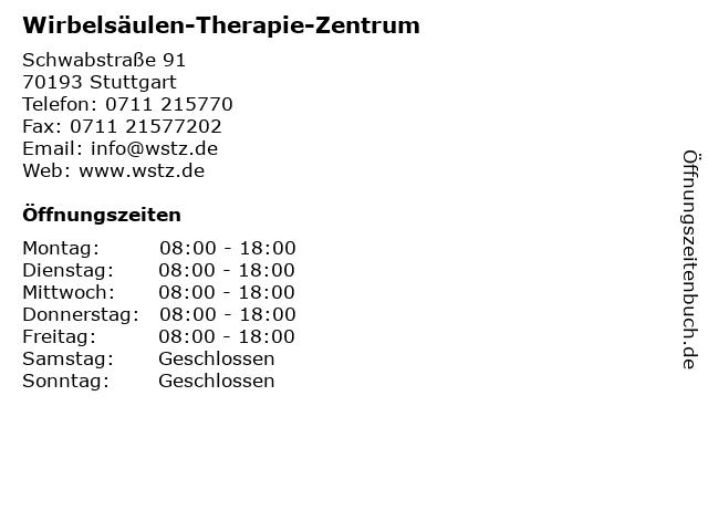 Wirbelsäulen-Therapie-Zentrum in Stuttgart: Adresse und Öffnungszeiten
