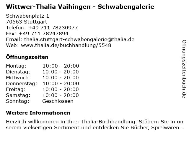 Wittwer-Thalia Vaihingen - Schwabengalerie in Stuttgart: Adresse und Öffnungszeiten