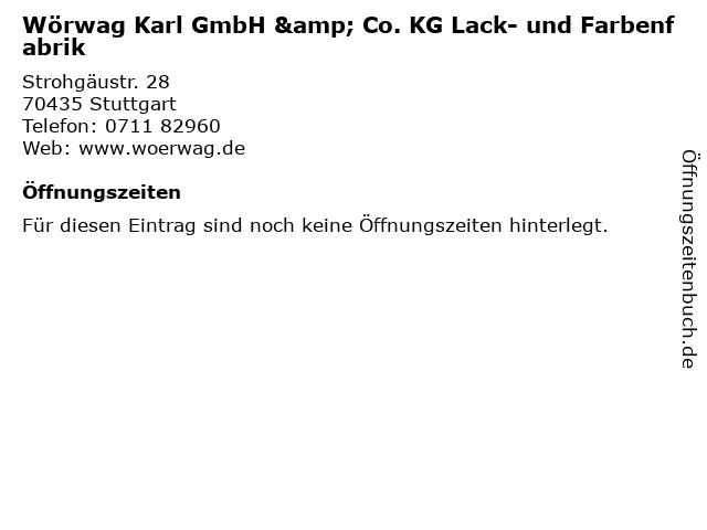 Wörwag Karl GmbH & Co. KG Lack- und Farbenfabrik in Stuttgart: Adresse und Öffnungszeiten