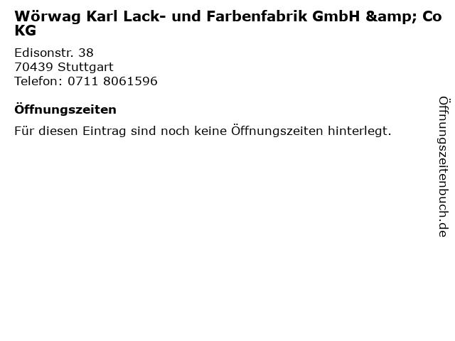 Wörwag Karl Lack- und Farbenfabrik GmbH & Co KG in Stuttgart: Adresse und Öffnungszeiten