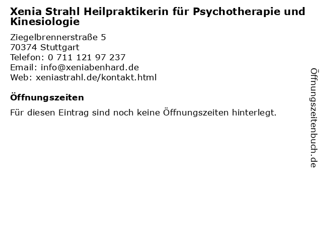 Xenia Strahl Heilpraktikerin für Psychotherapie und Kinesiologie in Stuttgart: Adresse und Öffnungszeiten