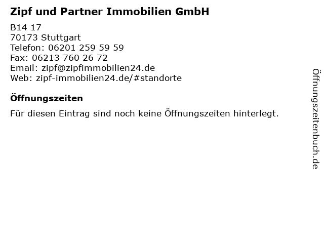 Zipf und Partner Immobilien GmbH in Stuttgart: Adresse und Öffnungszeiten
