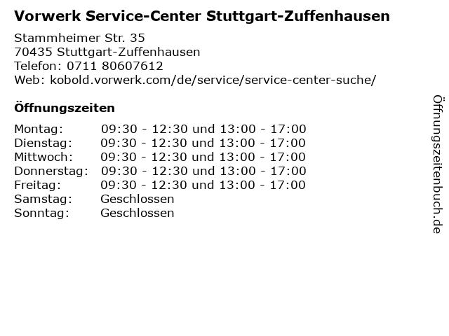 Vorwerk Service-Center Stuttgart-Zuffenhausen in Stuttgart-Zuffenhausen: Adresse und Öffnungszeiten