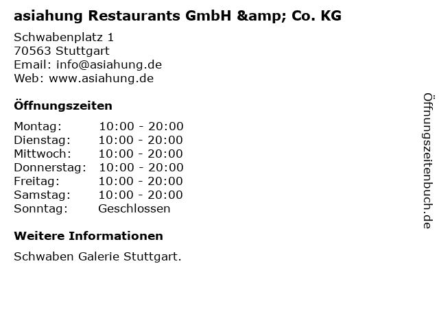 asiahung Restaurants GmbH & Co. KG in Stuttgart: Adresse und Öffnungszeiten