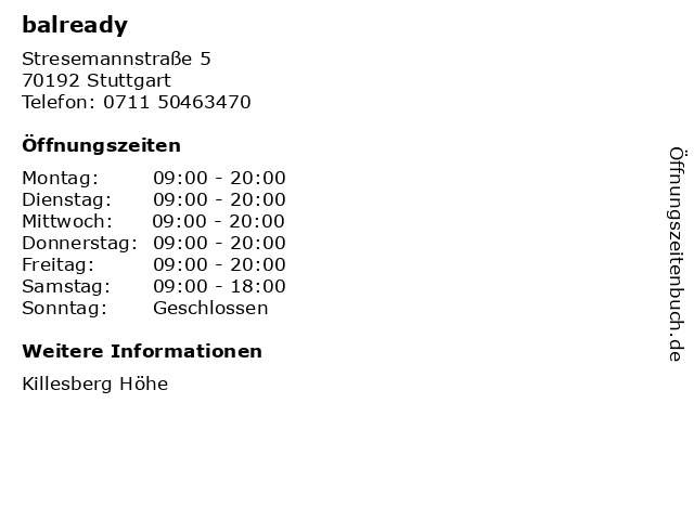 balready in Stuttgart: Adresse und Öffnungszeiten