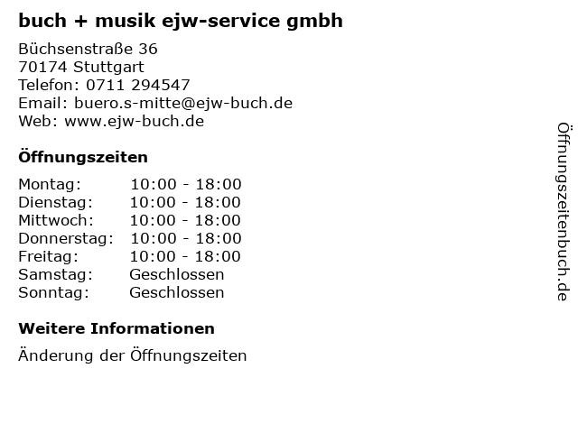 buch + musik ejw-service gmbh in Stuttgart: Adresse und Öffnungszeiten