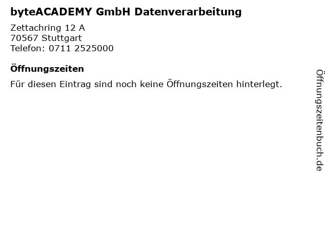byteACADEMY GmbH Datenverarbeitung in Stuttgart: Adresse und Öffnungszeiten