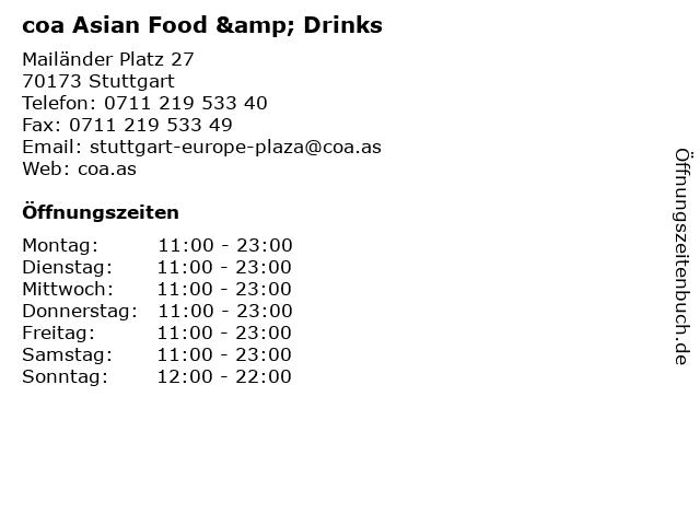 coa Asian Food & Drinks in Stuttgart: Adresse und Öffnungszeiten