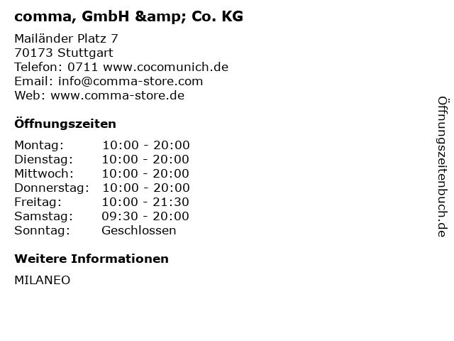 comma, GmbH & Co. KG in Stuttgart: Adresse und Öffnungszeiten